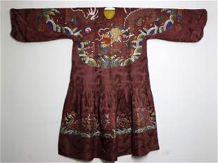 QING SILK RED-GROUND EMBROIDERED DRAGON ROBE