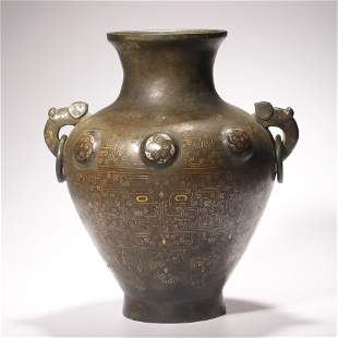 MING SILVER-INLAID BRONZE VASE WITH DOUBLE EAR RING