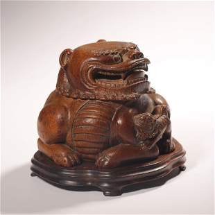 CARVED BAMBOO TAISHI AND YOUNG LION ORNAMENTS