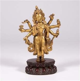 GILT BRONZE EIGHT-ARMED BUDDHA