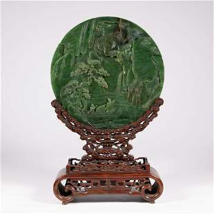 CARVED SPINACH JADE TABLE SCREEN WITH WOOD BASE