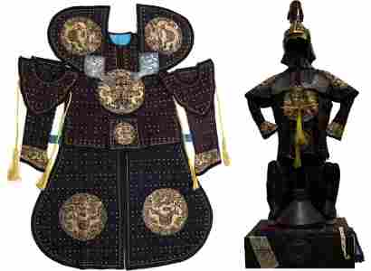 QING DYN. MANCHU MILITARY SILK ARMOR AND HELMET SET