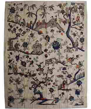 LARGE QING DYN. SILK EMBROIDERED FIGURAL PANEL