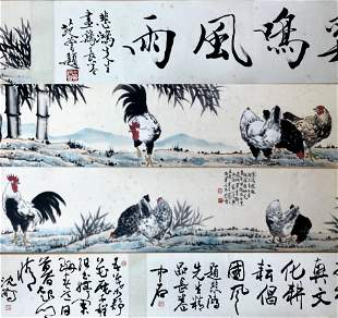 CHINESE PAINTING OF CHICKEN ON PAPER, XU BEIHONG
