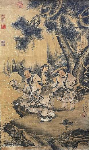 CHINESE PAINTING OF FIGURALS ON SILK, DAI JIN