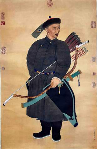 CHINESE PAINTING OF OFFICIAL ON SILK, LANG SHINING