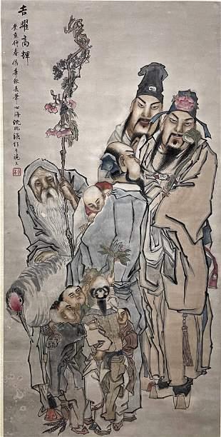 CHINESE PAINTING OF ELDERS, SHEN XINHAI