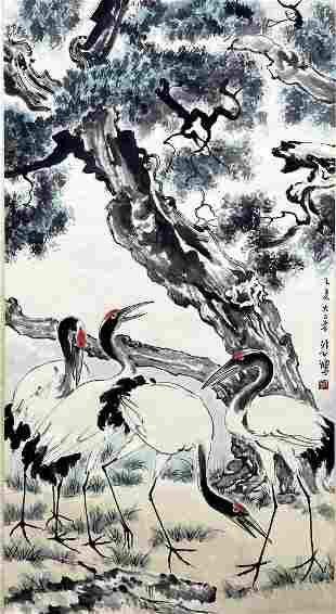 CHINESE PAINTING OF CRANE & PINE, XU BEIHONG