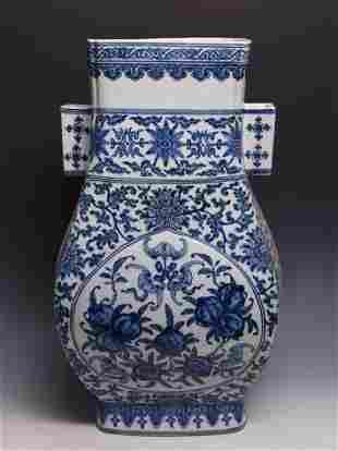 BLUE AND WHITE DOUBLE ARROW-HANDLED VASE, QIANLONG MARK