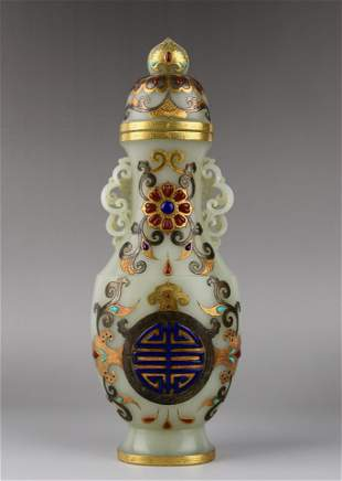 QING CARVED JADE VASE INLAID WITH GOLD AND PRECIOUS