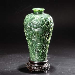 FINELY CARVED SPINACH JADE FLOWER MEIPING VASE ON STAND