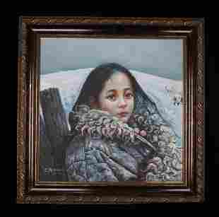 OIL PAINTING OF TIBETAN GIRL WITH ARTIST MARK