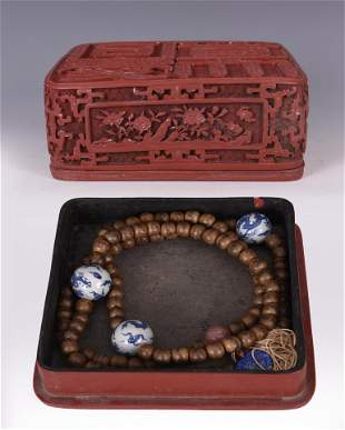 CHENXIANG PRAYER BEADS IN RED CINNABAR LACQUERED BOX
