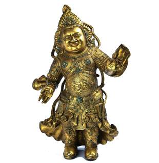 GILT BRONZE INLAID GEMSTONE STATUE OF THE HEAVENLY KING