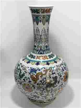 Doucai 'Dragon' Porcelain Vase, Qianlong Mark