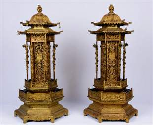 Large Intricated Pair Of Gilt Bronze Incense Vessels