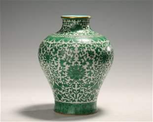 Green Glazed 'Lotus Scroll' Porcelain Vase, Qianlong