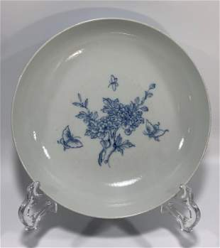 Blue And White Flower Motif Porcelain Plate