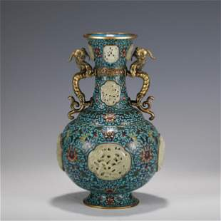 A RARE RETICULATED JADE INLAID CLOISONNE ENAMEL BOTTLE