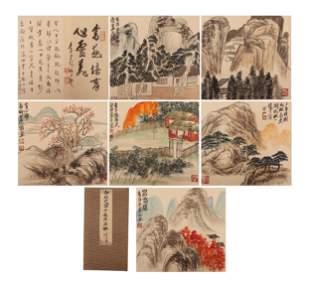 A CHINESE PAINTING ALBUM OF LANDSCAPE SIGNED QI BAISHI