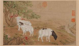 A CHINESE PAINTING HAND-SCROLL OF RAMS GROUP SIGNED