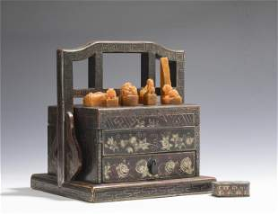 A GROUP OF SEVEN TIANHUANG BEAST SEALS WITH LACQUER BOX