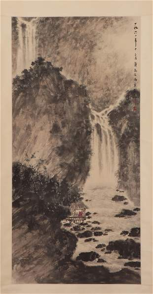 A CHINESE PAINTING HANGING-SCROLL OF SCHOLAR CONVERSING