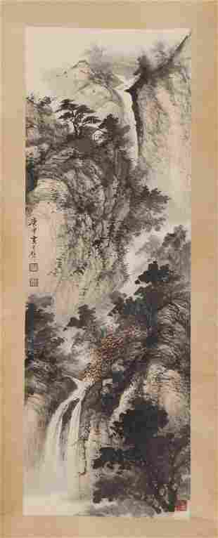 A CHINESE PAINTING HANGING-SCROLL OF WATERFALL PAVILION