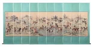 A SET OF TEN HANGING SCROLLS OF HORSES SIGNED XU