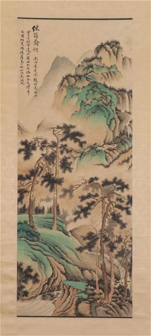 A CHINESE PAINTING HANGING-SCROLL OF GREEN LANDSCAPE