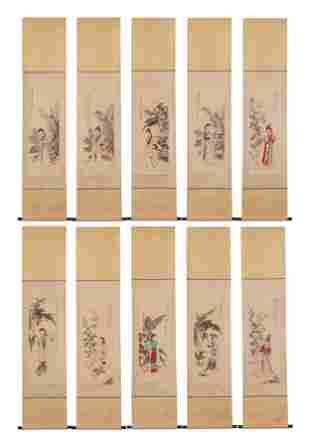 A SET OF TEN HANGING SCROLLS OF LADIES SIGNED ZHANG