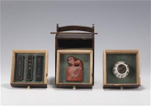 A GROUP OF SCHOLARS ITEM INCLUDING INK BLOCKS SEAL AND