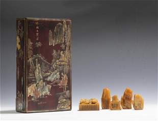 A GROUP OF FIVE TIANHUANG SEALS WITH LACQUER BOX