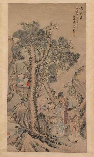 A CHINESE PAINTING HANGING-SCROLL OF SCHOLAR UNDER THE