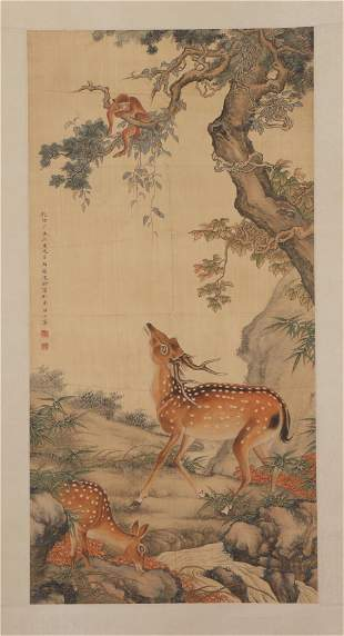 A CHINESE PAINTING HANGING-SCROLL OF DEERS WITH MONKEY