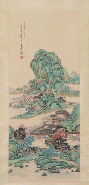 A CHINESE PAINTING HANGING-SCROLL OF LANDSCAPE SIGNED