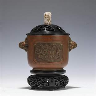 A BRONZE DRAGON BOMBE CENSER WITH JADE FINIAL
