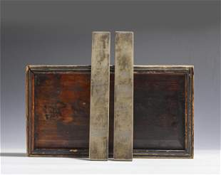 PAIR INCISED PAPER WEIGHTS WITH WOODEN BOX
