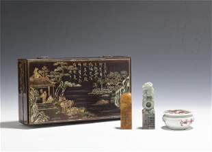 A GROUP OF THREE SCHOLARS ITEMS WITH LACQUER BOX