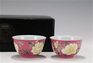 PAIR FAMILLE ROSE PEONY BOWLS YONGZHENG MARK WITH
