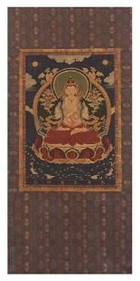 QING KESI WOVEN SILK THANGKA DEPICTING MAITREYA BUDDHA