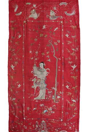 QING DYN. RED-GROUND SILK EMBROIDERED 'MAGU' PANEL
