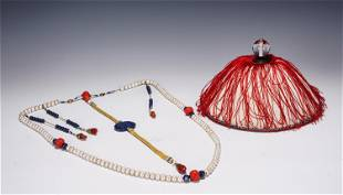 AN IMPERIAL PRAYER BEADS AND HAT