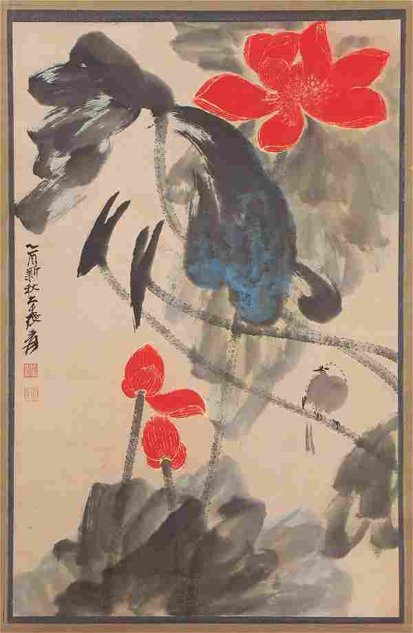 A CHINESE PAINTING OF LOTUS POND
