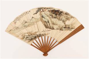 A CHINESE PAINTING FAN LEAF OF SCHOLARS BOATING AMONG
