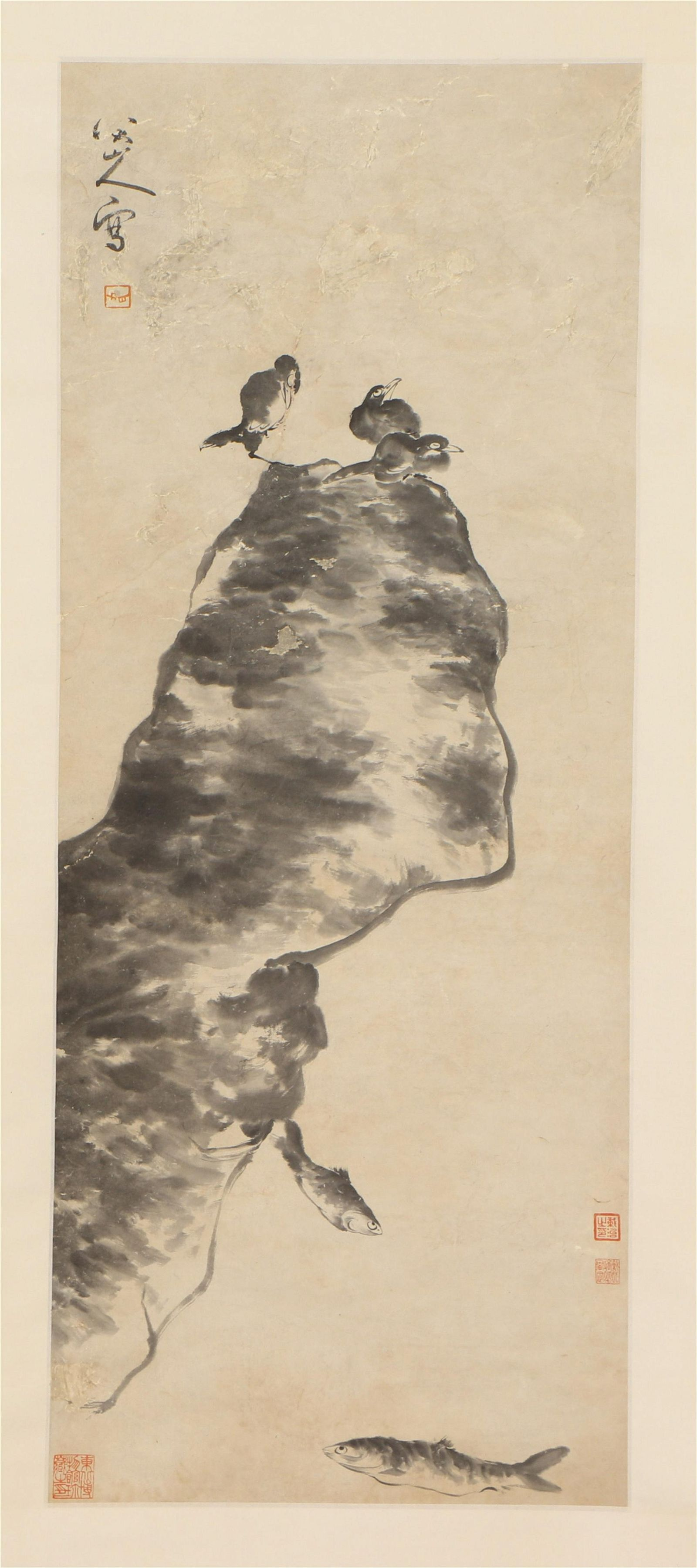 A CHINESE PAINTING OF BIRD ON ROCK