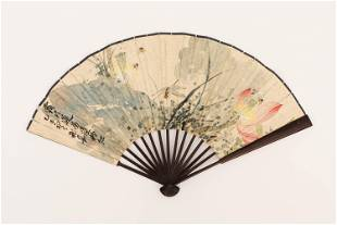 A CHINESE PAINTING FAN LEAF OF LOTUS POND