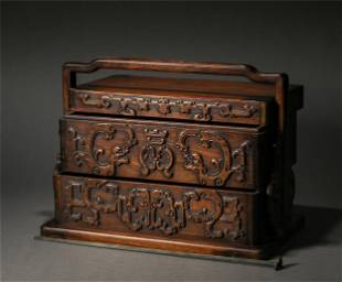 A CARVED HUANGHUALI PICNIC BOX
