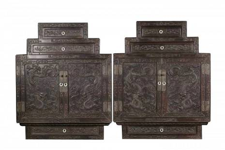 PAIR OF FINELY CARVED ZITAN DRAGON-PATTERNED CABINETS
