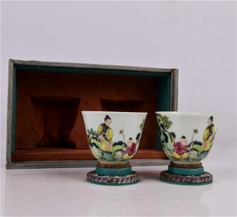 PAIR FAMILLE ROSE PORCELAIN CUPS WITH MARK